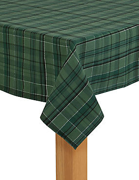 Tartan Tablecloth, GREEN MIX, catlanding