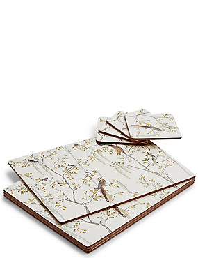 Ardingly Bird Cork Mat & Coaster Set