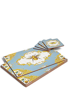 4 Pack Bee Floral Mat & Coasters