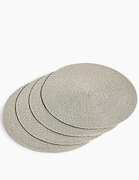 Set of 4 Round Woven Placemats, METALLIC, catlanding