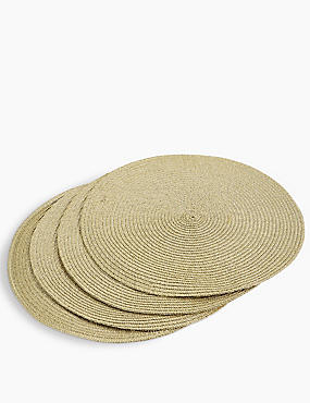 Set of 4 Round Woven Placemats, GOLD MIX, catlanding