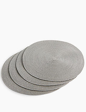 Set of 4 Round Woven Placemats, GREY MARL, catlanding