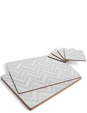 Chevron 8 Piece Cork Placemats & Coasters Set, GREY MIX, catlanding