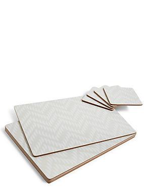 Chevron 8 Piece Cork Placemats & Coasters Set, NATURAL MIX, catlanding