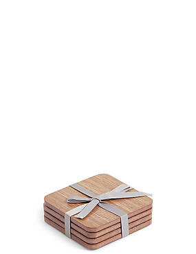 4 Pack Wood Veneer Coasters