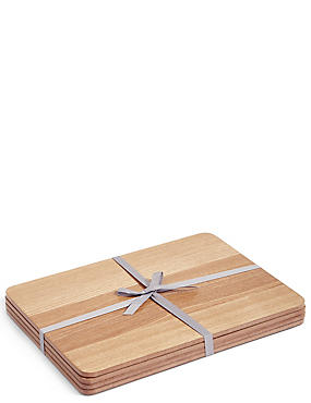 4 Pack Wood Veneer Placemat