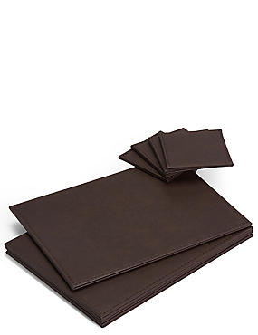 4 Pack Faux Leather Mat & Coasters, BROWN, catlanding