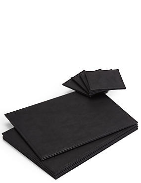 4 Pack Faux Leather Mat & Coasters, BLACK, catlanding