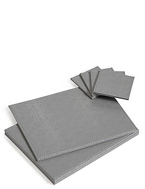 Set of 4 Faux Leather Placemats & Coasters, SILVER MIX, catlanding