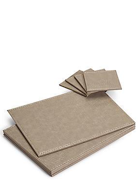 4 Pack Faux Leather Mat & Coasters, MUSHROOM, catlanding