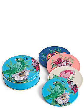 4 Pack Parrot Coasters & Tin