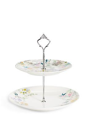 Spring Blooms 2 Tier Cake Stand