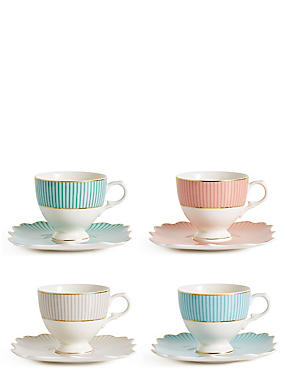 Set of 4 Charleston Cup & Saucer