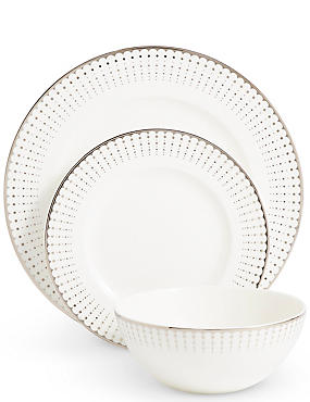 12 Piece Platinum Decorative Dinner Set