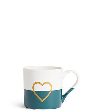 Dipped Glaze Metallic Heart Mug, , catlanding