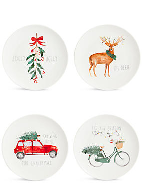 Set of 4 Christmas Slogan Side Plates, , catlanding