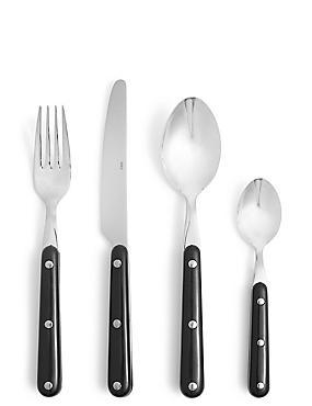 Bistro 16 Piece Cutlery Set, BLACK MIX, catlanding