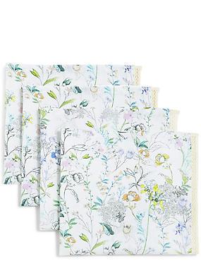4 Pack Floral Print Napkins, , catlanding
