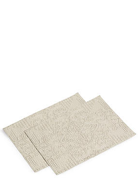 2 Pack Rice Stitch Embroidered Placemats