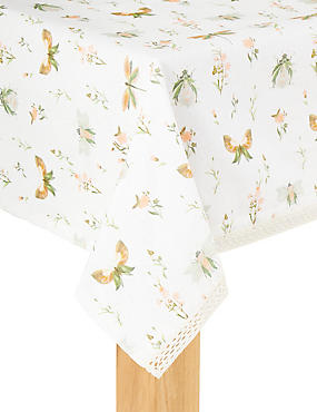Floral Insect Printed Tablecloth, , catlanding