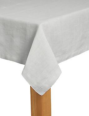 Pure Linen Tablecloth, LIGHT GREY, catlanding