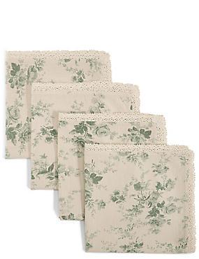 4 Pack Dovecote Floral Napkins