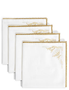 4 Pack Gold Embroidered Napkins