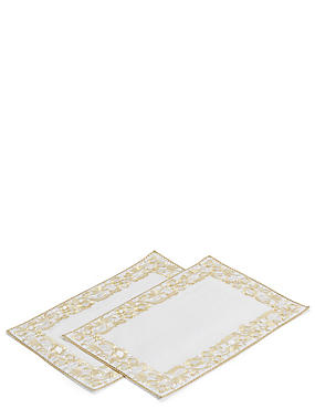 2 Pack Gold Embroidered Placemats