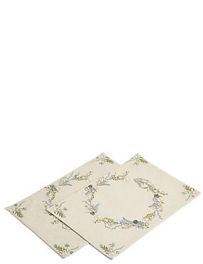 2 Pack Floral Embroidered Placemats