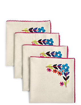 4 Pack Dahlia Embroidered Napkins