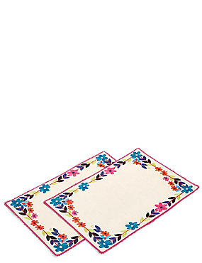 2 Pack Dahlia Embroidered Placemats