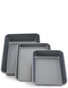 Set of 3 Roasting Trays, , catlanding
