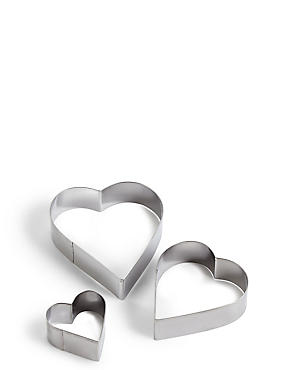 Set of 3 Heart Cutters, , catlanding