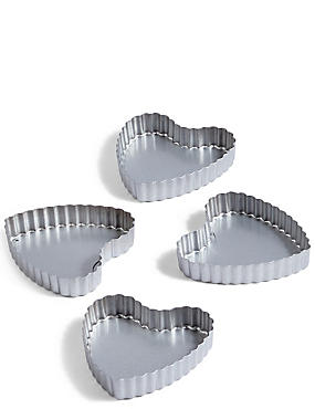 4 Pack Mini Heart Tart Tins