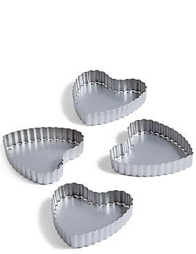 4 Pack Mini Heart Tart Tins, , catlanding