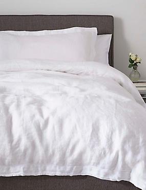 Pure Linen Duvet Cover, WHITE, catlanding