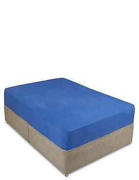 Pure Linen Fitted Sheet , MEDIUM BLUE, catlanding