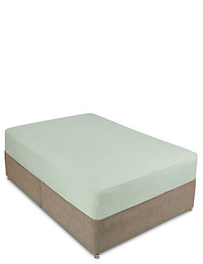 Pure Linen Deep Fitted Sheet, LIGHT AQUA, catlanding