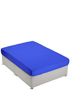 Non-Iron Pure Egyptian Cotton Fitted Sheet, BRIGHT BLUE, catlanding