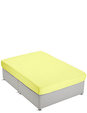 Non-Iron Pure Egyptian Cotton Fitted Sheet, YELLOW, catlanding