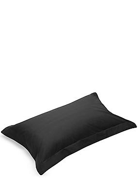Pure Egyptian Cotton 230 Thread Count Oxford Pillowcase with StayNEW™, BLACK, catlanding