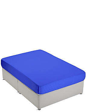 Non-Iron Pure Egyptian Cotton Deep Fitted Sheet, BRIGHT BLUE, catlanding