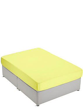 Non-Iron Pure Egyptian Cotton Deep Fitted Sheet, YELLOW, catlanding