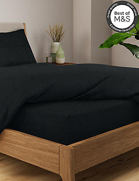 Non-Iron Pure Egyptian Cotton Deep Fitted Sheet, BLACK, catlanding