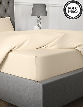 Non-Iron Pure Egyptian Cotton Extra Deep Fitted Sheet, IVORY, catlanding