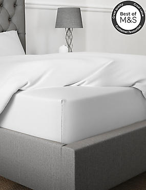 Non-Iron Pure Egyptian Cotton Extra Deep Fitted Sheet, WHITE, catlanding