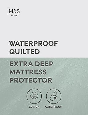 Waterproof Quilted Extra Deep Mattress Protector, WHITE, catlanding