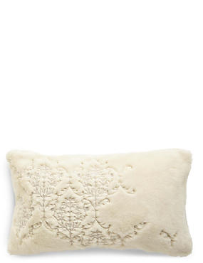 Embroidered Fur Cushion