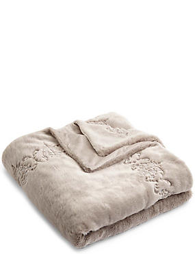 Embroidered Fur Throw