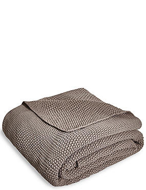 Knitted Throw, TAUPE, catlanding